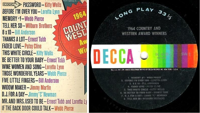 "Various Artists / 1964 Country and Western Award Winners (1965) / Decca DL-4622 (Album, 12"" Vinyl)"
