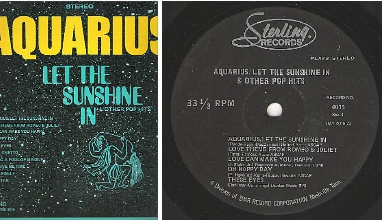 "Uncredited Artists / Aquarius - Let the Sunshine In + Other Pop Hits (1970) / Sterling Records 4015 (Album, 12"" Vinyl)"