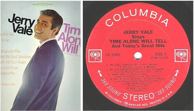 "Vale, Jerry / Time Alone Will Tell and Today's Great Hits (1967) / Columbia CS-9484 (Album, 12"" Vinyl)"