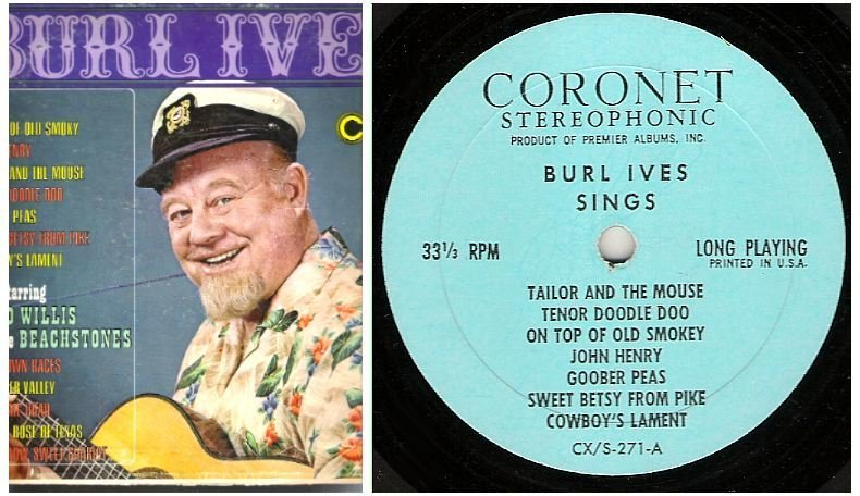 "Ives, Burl (+ Chad Willis) / Burl Ives Sings (1967) / Coronet CXS-271 (Album, 12"" Vinyl)"