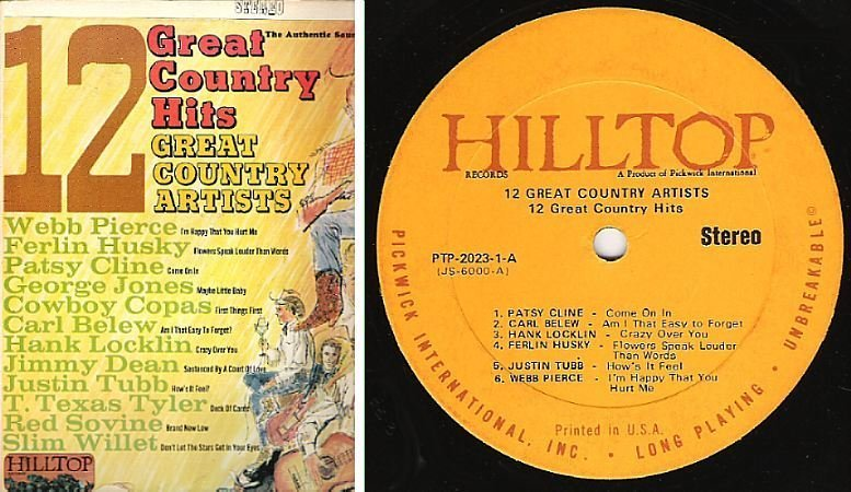 """Various Artists / 12 Great Country Hits - 12 Great Country Artists / Hilltop JS-6000 (Album, 12"""" Vinyl)"""