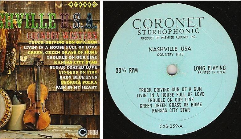 "Uncredited Artists / Nashville U.S.A. - Country Hits / Coronet CXS-259 (Album, 12"" Vinyl)"