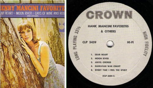 "Uncredited Artists / Henry Mancini Favorites (1964) / Crown CLP-5459 (Album, 12"" Vinyl)"