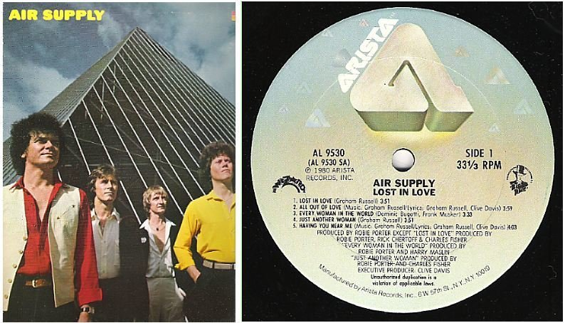 "Air Supply / Lost In Love (1980) / Arista AL-9530 (Album, 12"" Vinyl)"