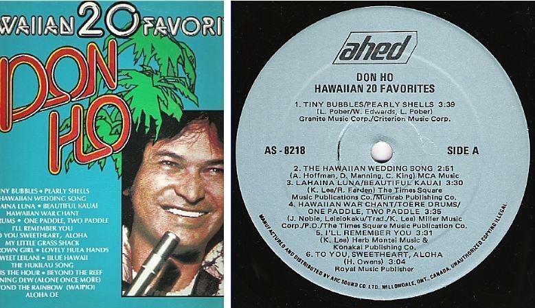 "Ho, Don / Hawaiian 20 Favorites (1978) / Ahed AS-8218 (Album, 12"" Vinyl) / Canada"