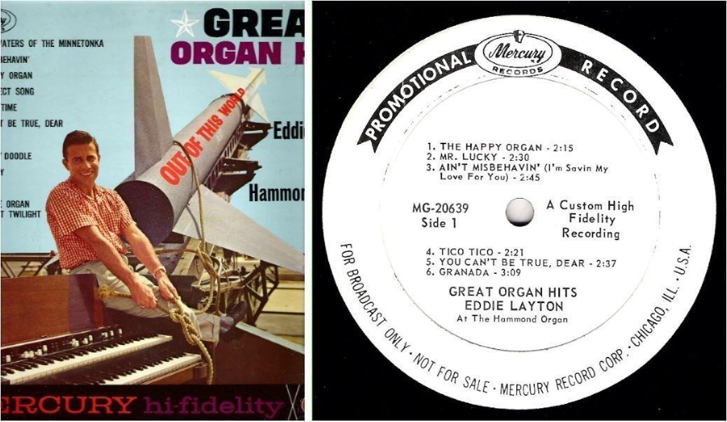 "Layton, Eddie / Great Organ Hits (1961) / Mercury MG-20639 (Album, 12"" Vinyl) / Promo"