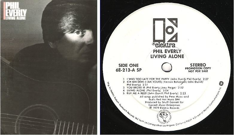 "Everly, Phil / Living Alone (1979) / Elektra 6E-213 (Album, 12"" Vinyl) / Promo"