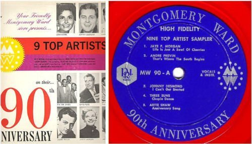 "Various Artists / Montgomery Ward 90th Anniversary - 9 Top Artist Sampler (1962) / P.R.I. MW-90 (Album, 12"" Red Vinyl)"