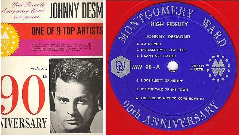 "Desmond, Johnny / Montgomery Ward 90th Anniversary - One of 9 Top Artists Series (1962) / P.R.I. MW-98 (Album, 12"" Red Vinyl)"