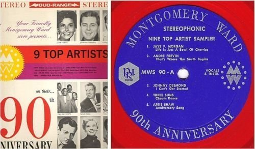 "Various Artists / Montgomery Ward 90th Anniversary - 9 Top Artist Sampler (1962) / P.R.I. MWS-90 (Album, 12"" Red Vinyl)"