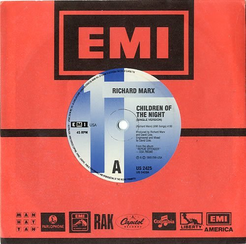 "Marx, Richard / Children of the Night (1989) / EMI US-2425 / Australia (Single, 7"" Vinyl)"