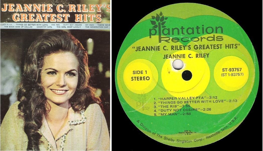 "Riley, Jeannie C. / Greatest Hits (1971) / Plantation ST-93757 (Album, 12"" Vinyl)"