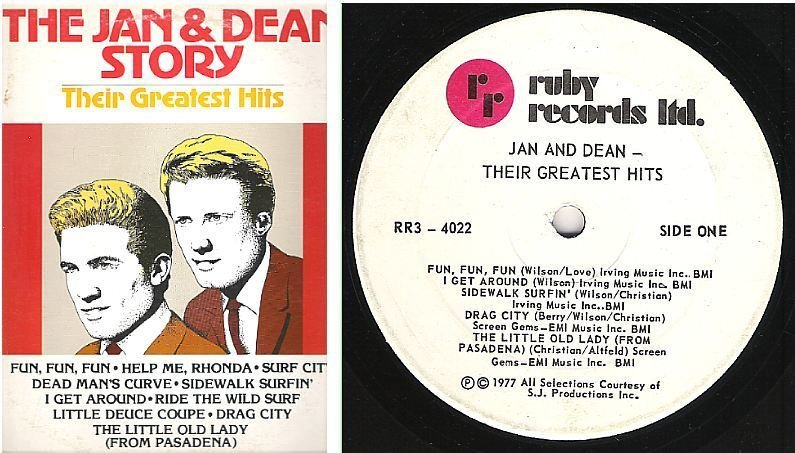 "Jan + Dean / The Jan + Dean Story - Their Greatest Hits (1977) / Ruby RR3-4022 (Album, 12"" Vinyl) / Canada"