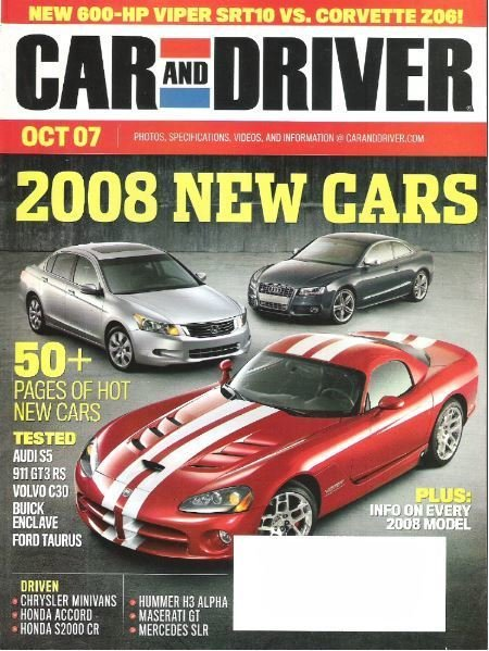 Car and Driver / 2008 New Cars / October 2007 Issue / Magazine (2007)