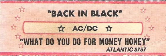 AC/DC / Back In Black / Atlantic 3787 | Jukebox Title Strip (1980)