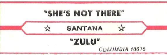 Santana / She's Not There / Columbia 10616 | Jukebox Title Strip (1977)