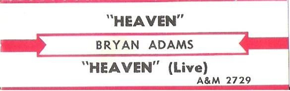 Adams, Bryan / Heaven / A+M 2729 | Jukebox Title Strip (1985)