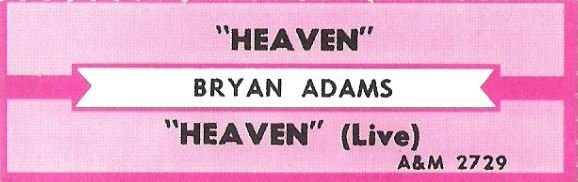 Adams, Bryan / Heaven / A+M 2729 | Jukebox Title Strip (1985)