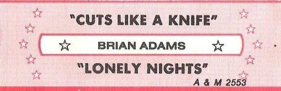 Adams, Bryan / Cuts Like a Knife / A+M 2553 | Jukebox Title Strip (1983)