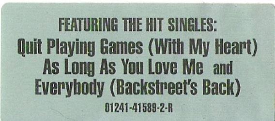 Backstreet Boys / Backstreet Boys / Jive 01241-41589-2-R   Sticker (1997)