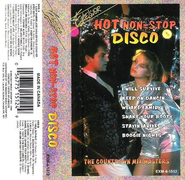 Countdown Mix Masters / Hot Non-Stop Disco / Excelsior EXM-4-1512 | Cassette Insert (1994)