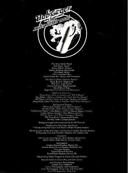 Seger, Bob (+ The Silver Bullet Band) / Stranger in Town / Capitol SW-11698 | Inner Sleeve (1978)