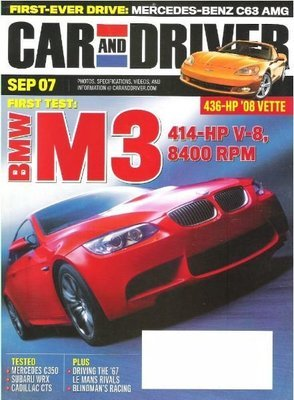 Car and Driver / First Test: BMW M3 / September 2007 | Magazine (2007)