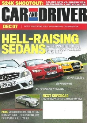 Car and Driver / Hell-Raising Sedans / December 2007 | Magazine (2007)