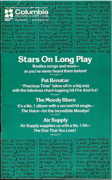 Stars On 45 / Columbia Record + Tape Club / November | Catalog (1981)