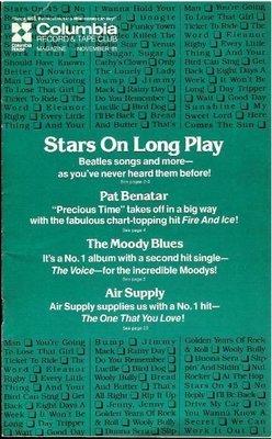 Stars On 45 / Columbia Record + Tape Club / November | Catalog (1981)