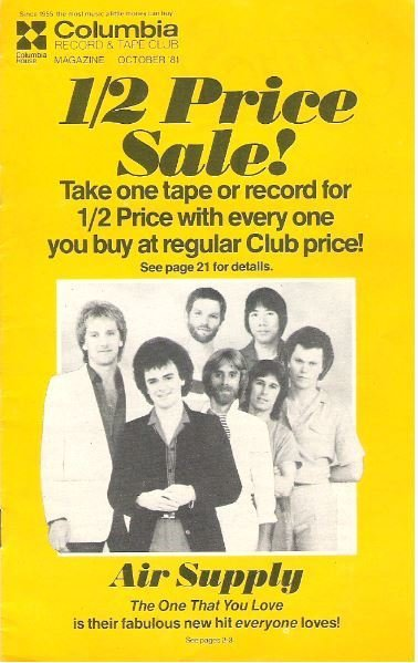 Air Supply / Columbia Record + Tape Club / October | Catalog (1981)