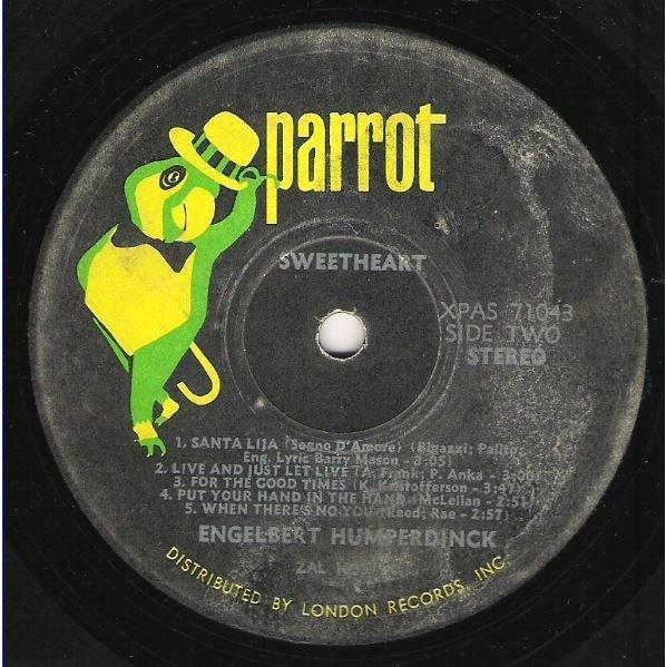 Humperdinck, Engelbert / Sweetheart / Parrot XPAS-71043 | Twelve Inch Vinyl  Album (1971)