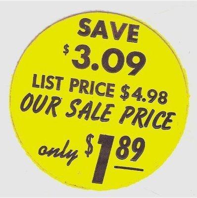 Vintage Sale Sticker for LP / Save $3.09 | Sticker (1964)