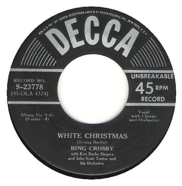 Crosby, Bing / White Christmas / Decca 9-23778 | Seven Inch Vinyl Single (1950)