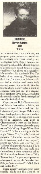 Adams, Bryan / Reckless | Magazine Review (1985)