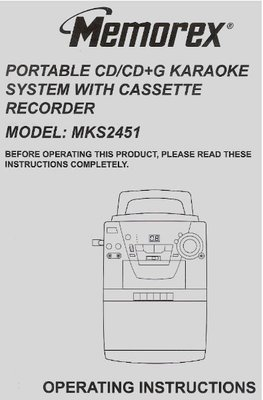 Memorex / Portable CD/CD+G Karaoke System with Cassette Recorder | User Guide (2002)