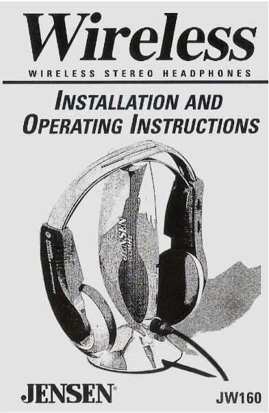 Jensen / Wireless Stereo Headphones / JW160 | User Guide (1999)