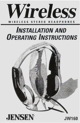 Jensen / Wireless Stereo Headphones / JW160 | User Guide (1999)