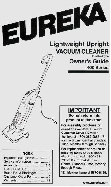 Eureka / Lightweight Upright Vacuum Cleaner | User Guide (2001)