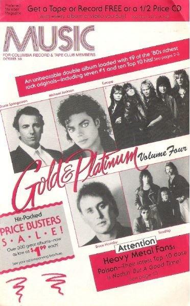 Various Artists / Music (Columbia Record + Tape Club) / Gold + Platinum / October | Catalog (1988)