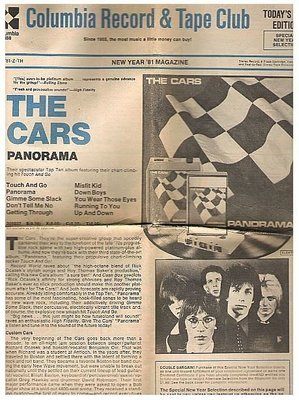 Cars, The / Panorama / Columbia Record + Tape Club / New Year 1981 | Catalog