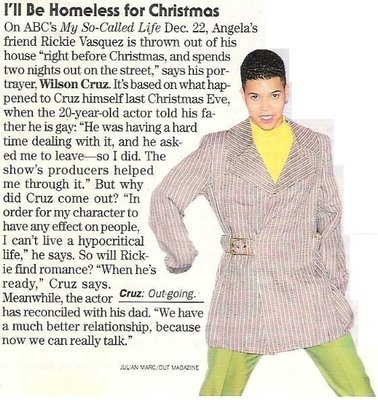 Cruz, Wilson / I'll Be Homeless for Christmas   Magazine Article with Photo (1994)