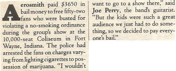 Aerosmith / Aerosmith Paid $3650 in Bail Money | Magazine Article (1978)