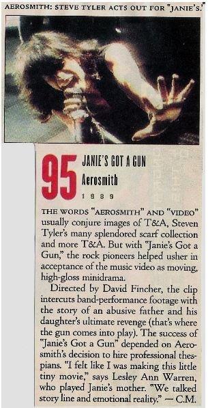 Aerosmith / Janie's Got a Gun - Music Video Review #1 | Magazine Article (1989)