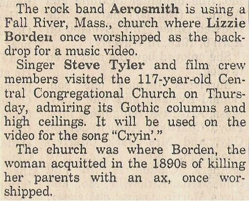 Aerosmith / Rock Band Using Lizzy Borden Church | Newspaper Article (1993)
