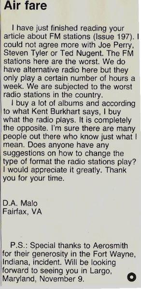 Aerosmith / Air Fare (Reader Letter) | Magazine Article (1978)