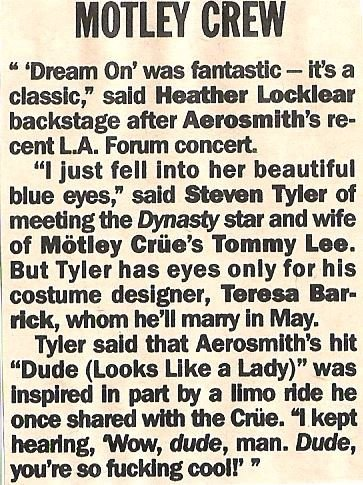 Aerosmith / Steven Tyler Meets Heather Locklear | Magazine Article (1988)