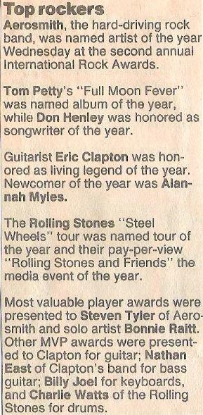 Aerosmith / Top Rockers - International Rock Awards | Newspaper Article (1990)