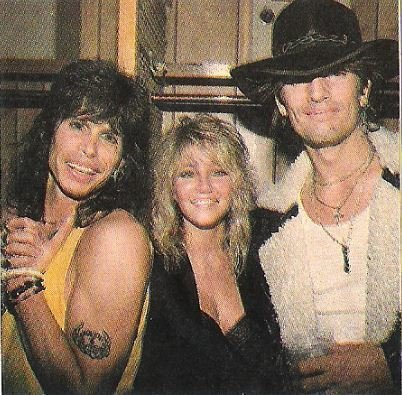 Aerosmith / Steven Tyler with Heather Locklear + Tommy Lee | Magazine Photo (1988)