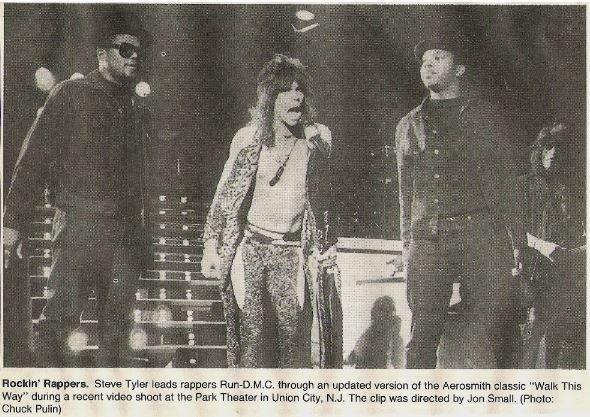 Aerosmith / Rockin' Rappers (with Run-DMC) | Newspaper Photo with Caption (1986)